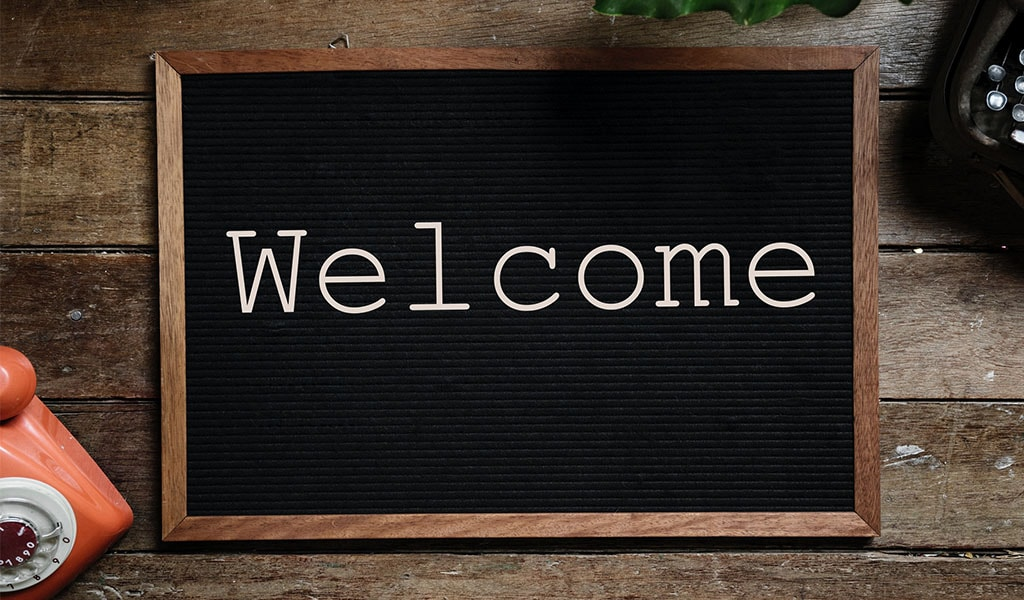 blackboard welcome sign