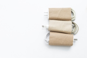 toilet paper rolls with wires in them